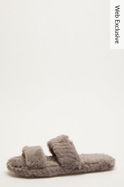 Grey Faux Fur Mule Slipper